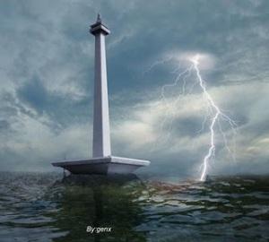 Gambar Monas Banjir